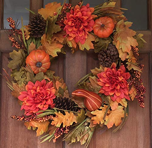 Oakwood Silk Fall Door Wreath 22 Inches - Autumn Colors Enhance Home Decor, Approved for Covered Outdoor Use, Beautiful White Gift Box Included -