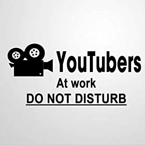 EricauBird Youtubers at Work Do Not Disturb Wall Sticker, Home Wall Decal, Decor for Bedroom Kitchen Car Laptop, Nursery Wall Decor, Removable Vinyl Sticker for Anniversary Holiday Housewarming