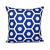 E By Design O5PG-N36-Dazzling_Blue-18 Geometric Decorative Outdoor Pillow, 18-Inch, Dazzling Blue