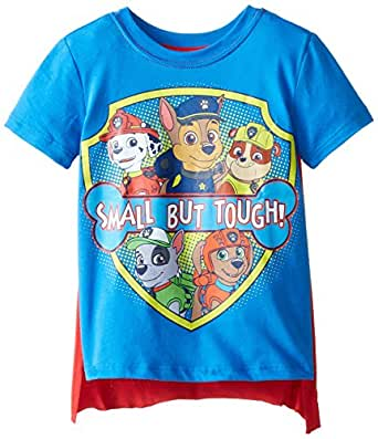 Freeze Nickelodeon Little Boys' Toddler Paw Patrol Small But Tough Toddler Cape T-Shirt, Blue, 2T