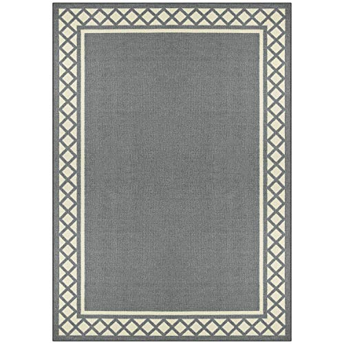 Maples Rugs Area Rug - Bella 7 x 10 Non Slip Large Area Rugs [Made in USA] for Living Room, Bedroom, and Dining Room, Light Grey/Neutral (Area Rug For Dining Room)