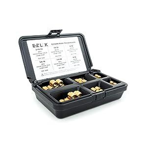 E-Z LOK EZ-A400 Threaded Inserts for Wood; Assortment Kit; Brass, Plain