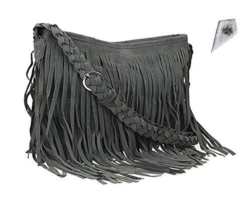 FTSUCQ Womens Fringe Tassel Faux Suede Messenger Bag Hobo Shoulder Bags Crossbody Handbag (Grey) (Fur Faux Bag Hobo)