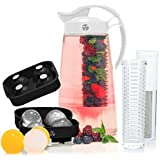Fruit & Tea Infusion Water Pitcher - The PERFECT Gift - Free Ice Ball Maker - Free Infused Water Recipe Booklet - Includes Shatterproof Jug, Fruit Infuser, and Tea Infuser - Unique Stylish Design