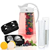 infused water pitcher glass - Fruit & Tea Infusion Water Pitcher - The PERFECT Gift - Free Ice Ball Maker - Free Infused Water Recipe Booklet - Includes Shatterproof Jug, Fruit Infuser, and Tea Infuser - Unique Stylish Design