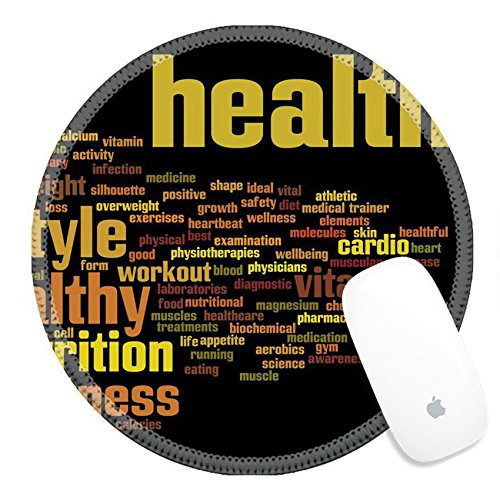 Luxlady Round Gaming Mousepad 39232639 Concept or conceptual abstract word cloud on black background as metaphor for health nutrition diet wellness body energy medical fitness medical gym medicine