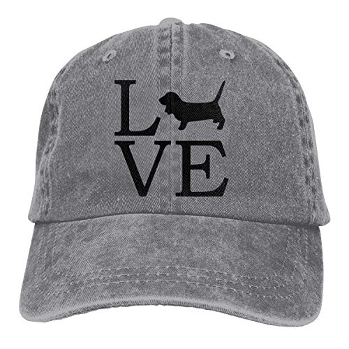 Unisex Adjustable Baseball Cap Love Basset Hound Snapback Hat Gray