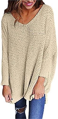 onlypuff Sudaderas para mujer chaqueta de punto Cable Knit Plus tamaño túnica Tops cuello en V Loose Batwing manga larga