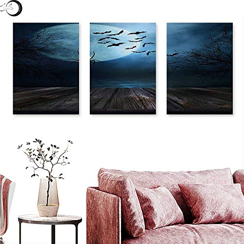 Mannwarehouse Halloween Poster Prints Misty Lake Scene Rusty Wooden Deck Spider Eyeball and Bats with Ominous Skyline Triptych Art Blue Brown W 16
