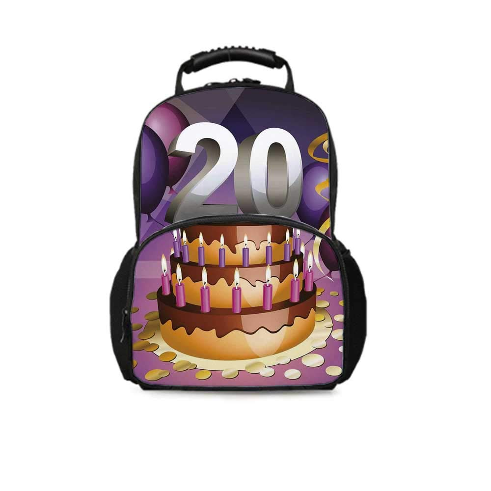 20th Birthday Decorations Leisure School Bag,Cartoon Print Birthday Cake Golden Frosting and Candles for School Travel,One_Size