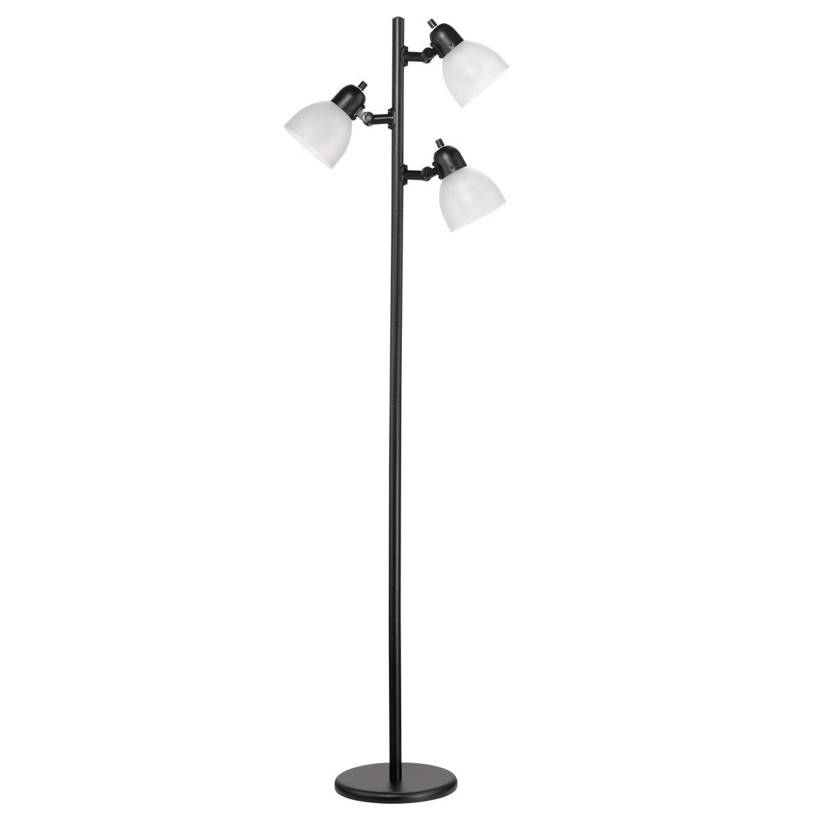 Novogratz 63'' 3-Light LED Floor Lamp, Matte Black Finish, Frosted Plastic Shades, Black Cord with Polarized Plug, LED Bulbs Included, 12719