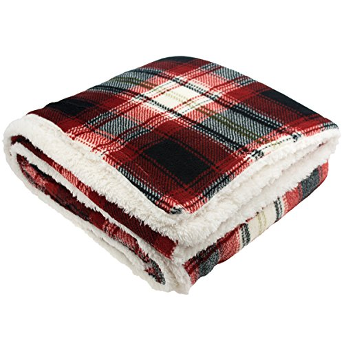 "Plaid Sherpa Throw Blanket 50""x60"" Plush Soft Warm Fluffy Red Black White Comfy"
