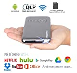 Pocket Pico Mobile Projector, Android Operating System, Netflix, Hulu, HBO & Google Play Store Apps, HDMI Input, Auto Keystone Correction, 100 Ansi Lumens, 5Ghz WiFi + Bluetooth 4.0