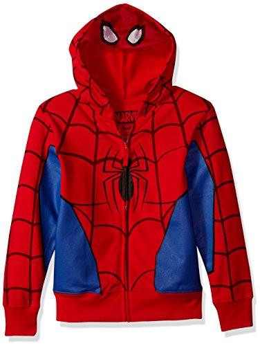 Marvel Little Boys' Spiderman Costume Hoodie, Red, M-5/6