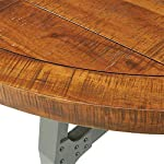 Ink+Ivy Lancaster Round Dining Table - Solid Wood, Metal Base Dining Room Table - Amber Wood, Industrial Style Kitchen…