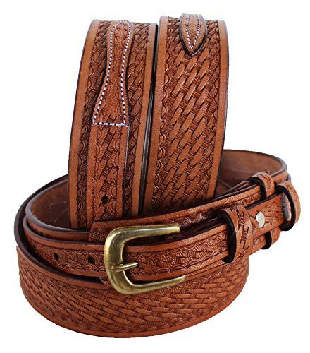 PRORIDER 53-54 Men's Western Ranger Belt Tooled Leather Basket Weave 26Ranger01 ()