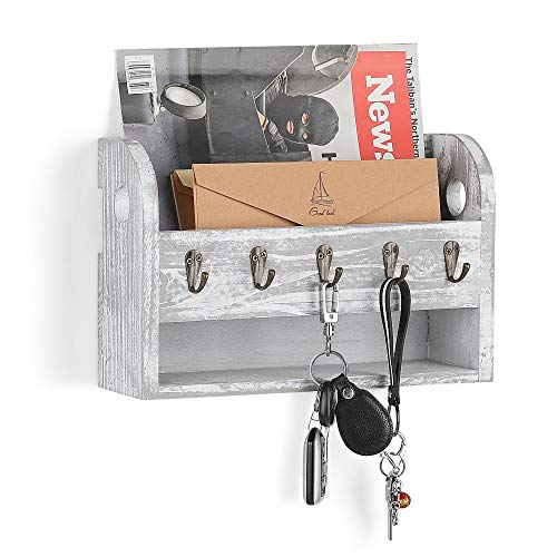 LIANTRAL Mail Sorter Wall Mount Mail & Key Holder Organizer with Storage Shelf and Key Hooks