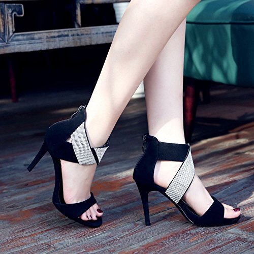 COOLCEPT Women Fashion Ankle Strap Sandals Open Toe Stiletto Shoes With Zip Black 4k5Yv7j