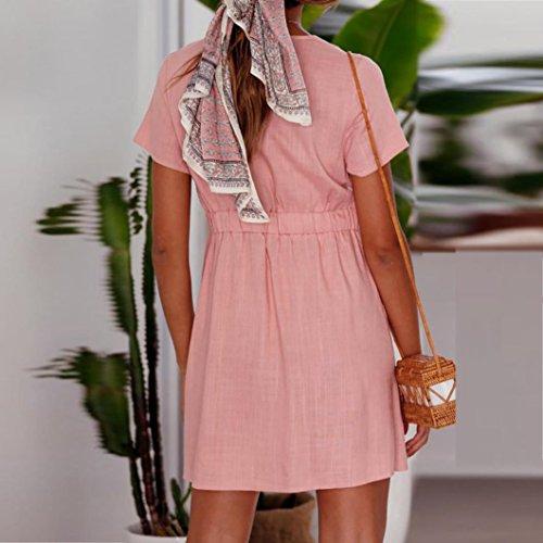 d851f5e130deec ... Kleid Casual Tasten Massiv Frau Sommer Split Elastizität Sundress  Kleider Taille Für Mini Rose Mit Kurz ...