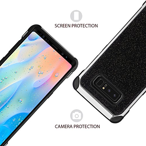 Note 8 Case, Galaxy Note 8 Case, BENTOBEN 2 In 1 Glitter Sparkle Bling Hybrid Hard Covers with Sparkly Shiny Faux Leather Chrome Shockproof Bumper Protective Case for Samsung Galaxy Note 8 (6.3 inch)