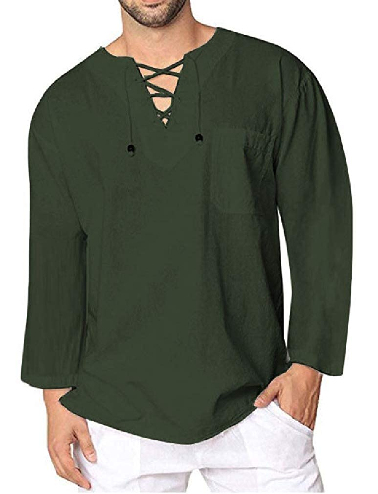 SportsX Men Solid-Colored Comfy V-Neck Casual Leisure Lace Up Tees Top