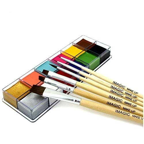 Body Face Paint With Brush 12 Color Pigment Oil Painting Art use in Halloween Party Fancy Dress Beauty Makeup Tool (1)]()