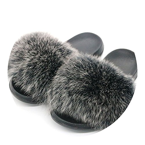 Fox Fur Slippers Hair Slides Flat Plush Shoes Home Beach Sandals,Frost Gray,9
