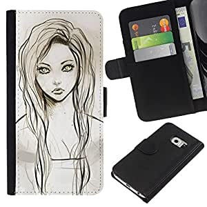KLONGSHOP // Tirón de la caja Cartera de cuero con ranuras para tarjetas - Chica Retrato Dibujo Verde Ojos Lápiz - Samsung Galaxy S6 EDGE //