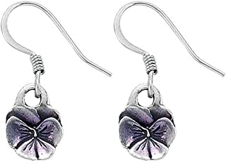 product image for DANFORTH - Pansy/Purple Mini Earrings - 1/2 Inch - Pewter - Surgical Steel Wires - Handcrafted - USA