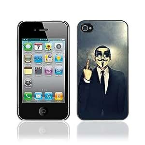 CASETOPIA / Anonmous Middle Finger / Apple Iphone 4 / 4S / Prima Delgada SLIM Casa Carcasa Funda Case Bandera Cover Armor Shell PC / Aliminium