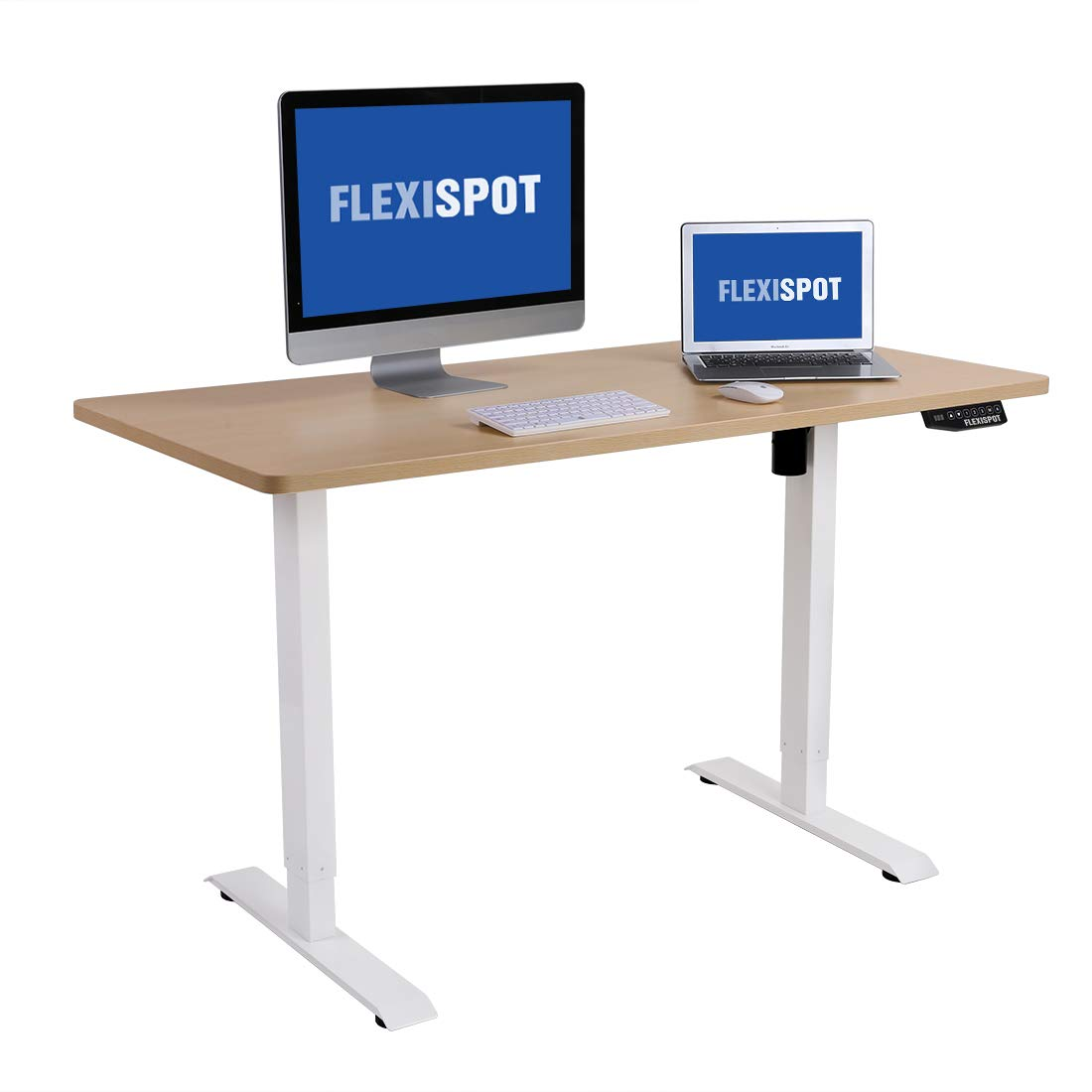 "Flexispot Electric Height Adjustable Desk with Desktop, 48 x 30 Inches, Ergonomic Memory Controller Standing Desk Stand Up Desk Workstation (White Frame + 48"" Maple Top)"
