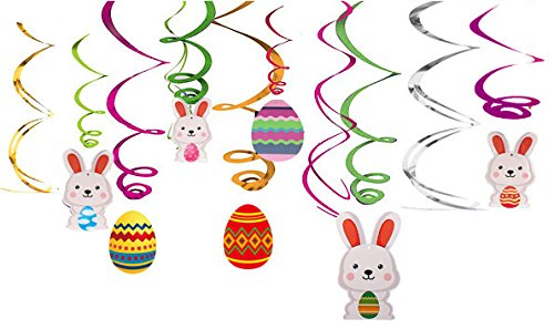 30Ct Easter Decorations Egg Bunny Hanging Swirl Foil -- Party Ornaments Supplies (Easter Hanging)