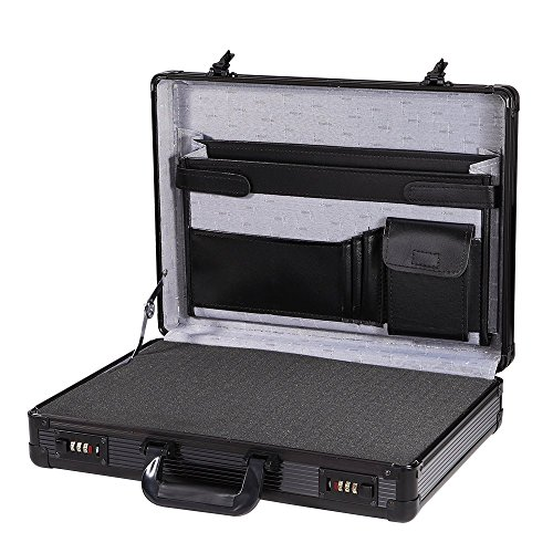 Aluminum Carrying Case Interior Organizer Black Hard-side Business Briefcase with Customizable Foam Insert ,17.4''L x 12.4''W x 3.54'' H