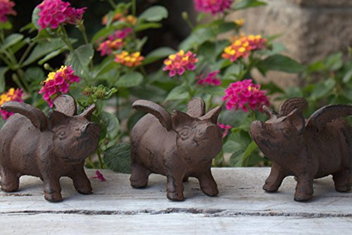 DCI Set of 3 Little Pigs Cast Iron Flying Pig Statue Set Pig with Wings Paperweight