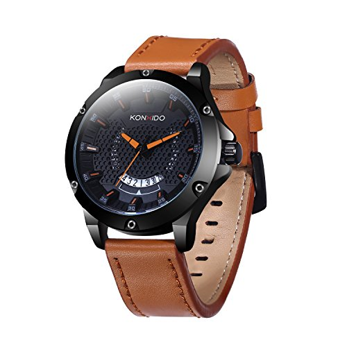 KOSSFER Multifunctional Electronic Men's Watch Waterproof Shockproof Quartz Sports Watch Brown