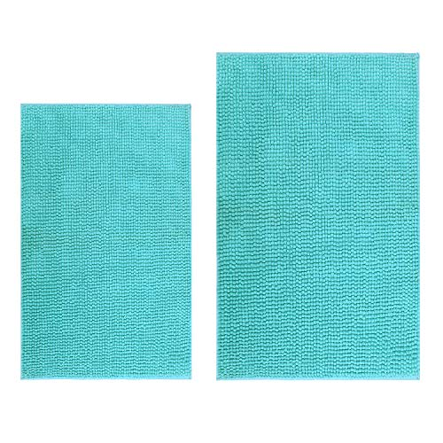 Hevice Non-Slip Bathroom Rug Shag Shower Mat Machine-Washable, Bath Mats Absorbent Chenille Bath Rugs for Bathroom Tub Shower Set of 2 Turquoise 31