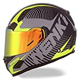 NENKI Helmets NK-856 Full Face Motorcycle Helmets DOT Approved With Iridium Red Visor and Inner Sun Shield Attached Outer Clear Visor M Matt Black   Yellow