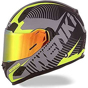 NENKI Helmets NK-856 Full Face Motorcycle Helmets DOT Approved With Iridium Red Visor and Inner Sun Shield Attached Outer Clear Visor (M, ...