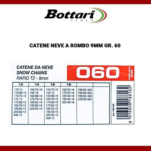 R14 CATENE DA NEVE OMOLOGATE 9mm PER PNEUMATICI MISURA 185 65 14 GR60
