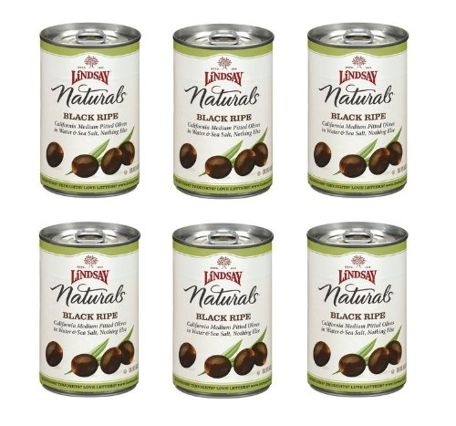 Black Medium Pitted Olives (Lindsay Naturals California Black Ripe Pitted Olives: 6 Cans of 6 Oz - Cos7)