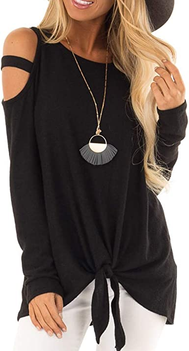 Camisa de Manga Larga Mujer, Camisas Otoño Invierno Elegantes Estampado de Moda de Mujer Verano Ilanura Sólido Camisas de Hombro Frío Blusas Tops Cold Shoulder Blusa Camisa Algodón Shirts: Amazon.es: Ropa y