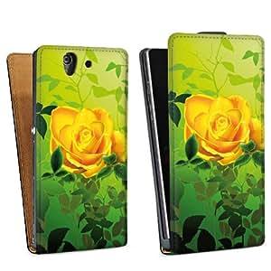 Diseño para Sony Xperia Z L36h DesignTasche Downflip black - Yellow Roses
