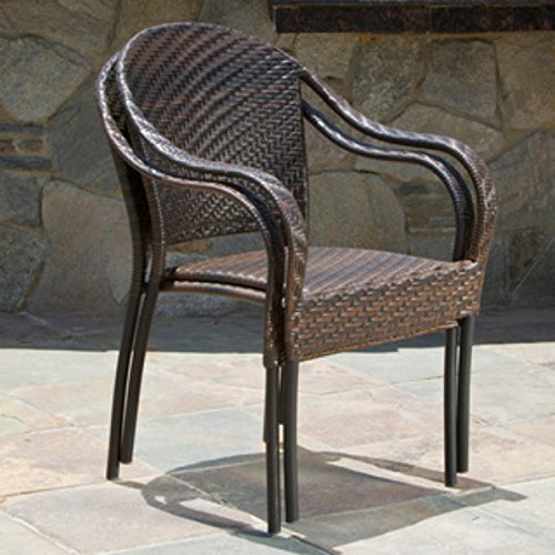 Patio Outdoor Wicker Dining Chairs Set of 2 Stackable & Already Fully Assembled by Sunset Patio (Maple Stackable)
