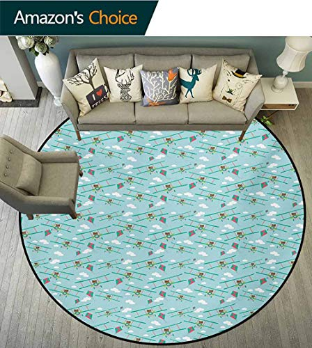 RUGSMAT Baby Round Area Rugs Living Room,Funny Bear On Ladder Trying to Reach The Kite in Sky Clouds Kids Nursery Cartoon Study Computer Chair Cushion Base Mat Round Carpet,Diameter-47 Inch