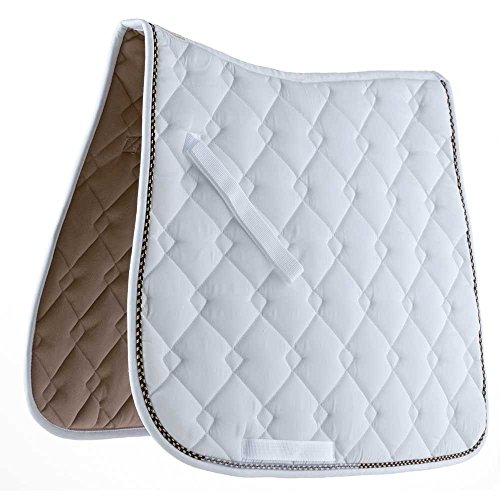 Roma Ecole Double Diamond Dressage Saddle Pad (White/navy/gold)