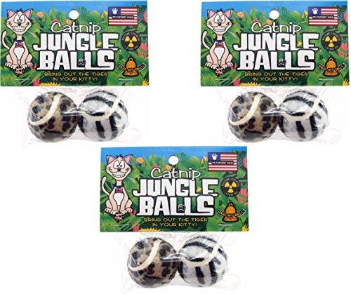Petsport Catnip Jungle Balls (3 Packs with 2 Balls Per Pack / 6 Balls Total) (Cat Balls Petsport)