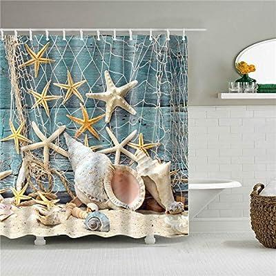 YuJian12 Cortinas de Ducha 3D Sea Beach Shell Imprime mampara de baño a Prueba de Agua en el baño decoración del hogar (Color : P, Size : 90X180cm): Amazon.es: Hogar
