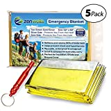 Emergency Blankets Gold 5-Pack; Mylar Thermal Solar Blanket for Emergency Kit, Car, Hiking, Backpack, Camping, Outdoor, Travel, First Aid Kit, Disaster Preparedness Equipment Plus Survival Whistle!