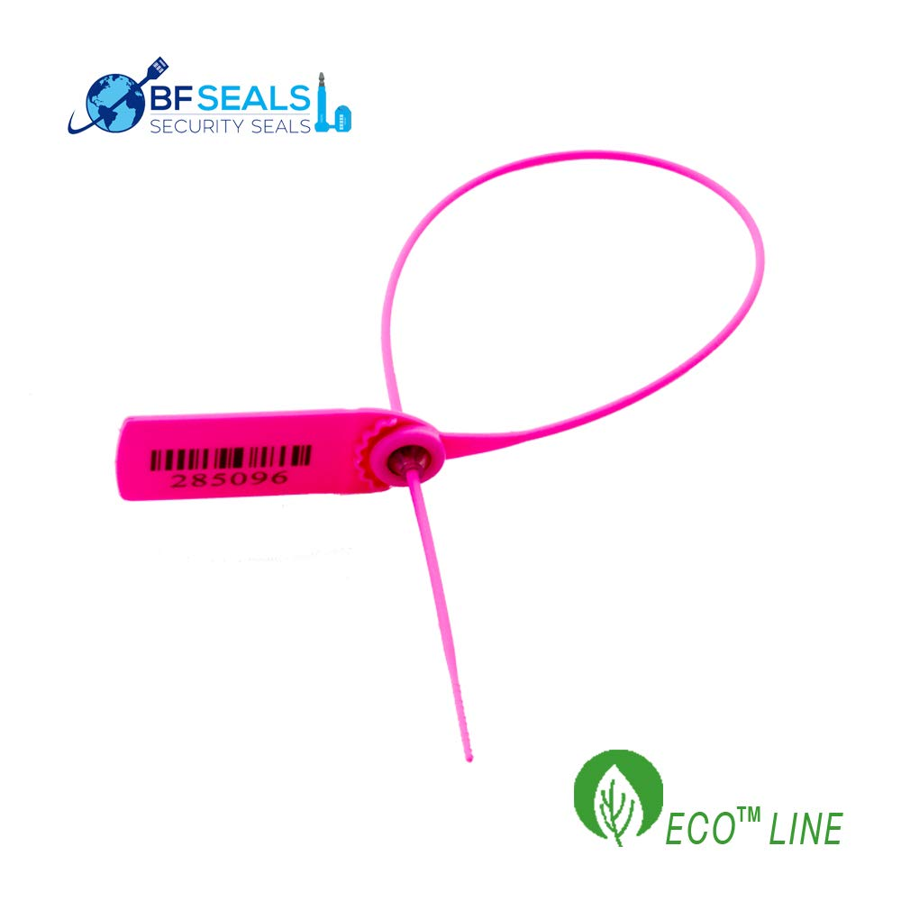 Pull-Tight Eco-Plastic Security Seal 15'', 100 Pcs, Correlative Numbered, Pink Color by BFSEALS