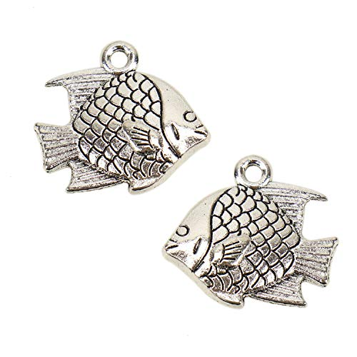 JETEHO 50PCS Antique Silver Metal Fish Charms for Jewelry Making